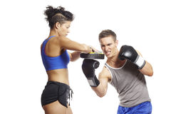 Young man and woman boxing sparring Stock Photos