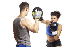 Young man and woman boxing sparring Royalty Free Stock Photos