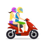 Young man and woman couple riding on scooter Royalty Free Stock Photography