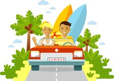 Young man and woman couple with surfboards Royalty Free Stock Images