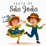 Young man and woman dancing salsa on festivals celebrated in Portugal Festa de Sao Joao, girl in straw hat traditional. Fiesta dance, holiday party dancer Royalty Free Stock Image