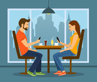 Young man and woman on a date in cafe with smartphones vector illustration