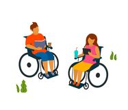 Young man and woman with disabilities spend time in the park reading vector illustration. Graphic royalty free illustration