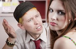 Young man and woman with a disagreement Stock Images