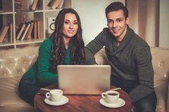Young man and woman discussing something Royalty Free Stock Photo