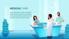 Young Man Woman Doctor Team at Operation Table. Patient Wait for Treatment. Hospital Worker Discussion Process. Future Medicine Healthcare Service. Medical royalty free illustration