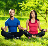 Young man and woman doing yoga in the sunny summer Stock Image