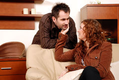 Young Man and Woman Flirting Royalty Free Stock Photography