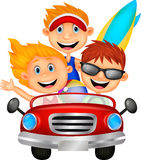 Young man and woman having fun driving their car on a road trip Stock Images