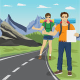 Young man and woman hitchhiking on road in mountains. Young man and woman hitchhiking on the road in mountains Royalty Free Stock Photo