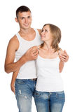 Young man and woman in jeans Royalty Free Stock Photography