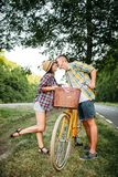 Young man and woman kissing on romantic date Royalty Free Stock Photo