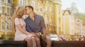 Young man and woman kissing on sweet romantic date, happiness and love, couple Royalty Free Stock Photo