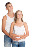 Young man and woman looking up Stock Images