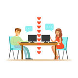 Young man and woman in love chatting sitting in their office colorful character vector Illustration Stock Image