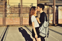 Young man and woman in love outdoor Stock Images