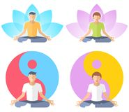 Young man and woman meditate in the lotus pose. Royalty Free Stock Photo
