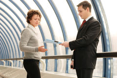 Young man and woman on meeting. Young man and woman on business meeting royalty free stock photos