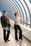 Young man and woman on meeting. Young man and woman on business meeting royalty free stock images