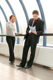 Young man and woman on meeting. Young man and woman on business meeting stock photos