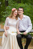 Young man and woman. Young men and women are happy and well-dressed Stock Photo