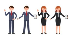 Young man and woman office workers waving hands and writing notes. Vector illustration of cartoon coworkers in business suits. royalty free illustration