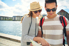 Young man and woman out sightseeing Stock Photo