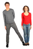 Young man and woman represents  letter N Royalty Free Stock Photography