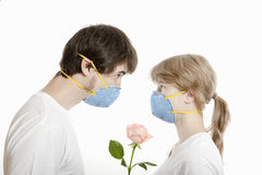 Young man and woman with rose. Couple, man and woman in masks  face to face looking over rose flower ,  against white background Royalty Free Stock Photography