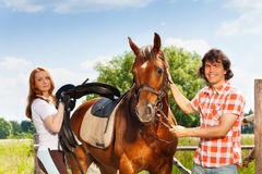 Young man and woman saddling their bay horse. Young men holding bay horse by the bridle while young women saddling it, standing next to the enclosure fence Stock Photography