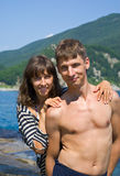Young man and woman at sea 7. The portrait of the young man and woman at sea Stock Image
