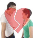 Young man and woman shouting at each other Stock Images