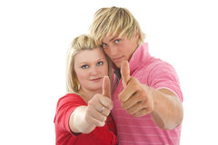 Young man and woman showing. Stock Photo