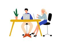 Young Man and Woman Sitting at Desk with Computers, Colleagues Working Together in Office Vector Illustration. On White Background royalty free illustration