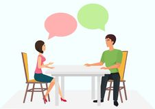 Young man and woman are sitting at the table and have conversation. Male female talking dialogue chats. Vector Royalty Free Stock Photos