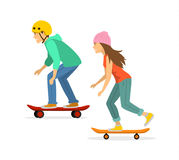 Young man and woman skateboarding. Isolated vector illustration Royalty Free Stock Image