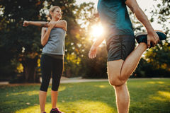 Young man and woman stretching in the park Stock Images