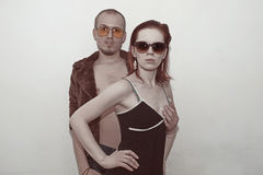 Young man and woman in sunglasses Royalty Free Stock Images