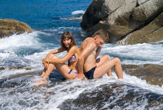 Young man and woman and surf 3 Stock Photography