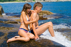 Young man and woman at surf 6 Royalty Free Stock Images