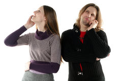 Young man and woman talking Royalty Free Stock Photography