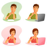 Young man and woman thinking, or working with computer Royalty Free Stock Images