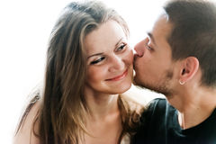 Young man and woman together Stock Images
