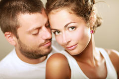 Young man and woman together over white background Royalty Free Stock Images