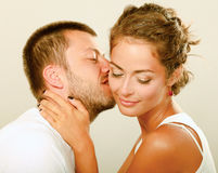 Young man and woman together over white background Stock Photo