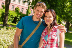 Young man and woman tourist smiling Stock Photo