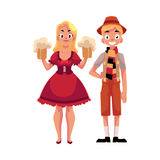 Young man and woman in traditional German, Bavarian Oktoberfest costume. Young man and woman in traditional German, Bavarian, Austrian Oktoberfest costume stock illustration