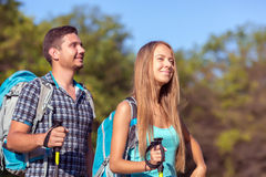 Young Man and Woman Traveling Outdoor Expressing Fun and Pleasure Royalty Free Stock Images