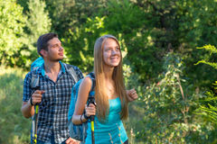 Young Man and Woman Traveling Outdoor Royalty Free Stock Photography