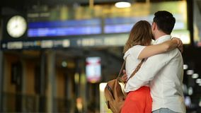 Young Man And Woman Use Underground. Couple In Subway. Cut View Of Man And Woman Stand In Front Of Each Other. Fast stock footage